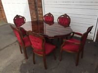 Italian table 4 chairs 2 carvers