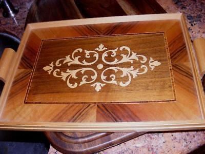 GORGEOUS! ART DECO Vintage WOODEN Inlay SERVING TRAY 2 handles Blonde Swiss Wood