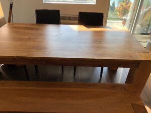 Table en bois de rose indien - inclus banc et chaises