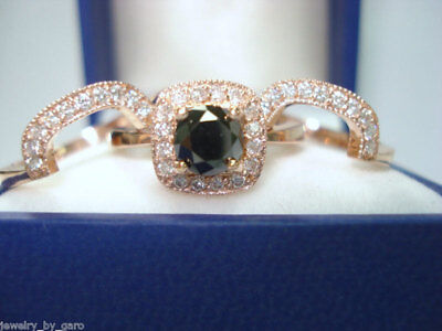 ENHANCED BLACK DIAMOND ENGAGEMET RING WEDDING BAND SETS 14K ROSE GOLD