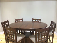 Chocolate counter Height -Dining Table with 6 Chairs