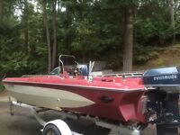17ft Glasstron side console with Evinrude 90hp and trailer