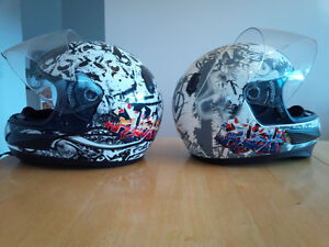 2 Youths Full Face CKX Motorcycle Helmets 1 Sm, 1 Med