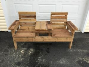 double bench with table