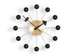 1950's Large Vitra Ball Wall Clock Black And Brushed Brass Metal 18'' inch