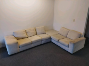 Large, White, 3 piece L-shaped Couch.