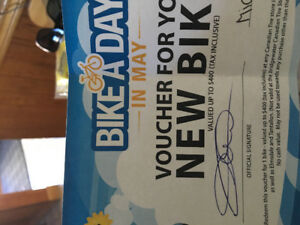 Voucher for bike at Canadian Tire: 400 dollar value