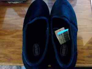 BLACK VELVETEEN WOMEN'S SLIPPERS