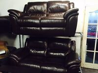As new brown leather 2 2 1 sofa set
