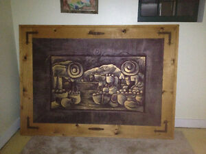 Solid Rustic Pine and Metal Work Art Frame