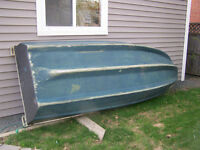 70s fiberglass boat with 4 hp Mariner outboard
