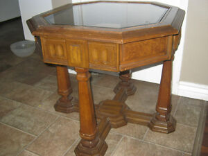 Octagon solid wood and glass end table