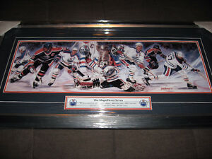 "EDMONTON OILERS ""THE MAGNIFICENT SEVEN"" FRAMED PRINT 26x6"