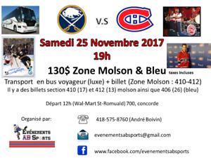 Canadiens - Bus voyageur - Samedi 25 nov. Buffalo (410-412)