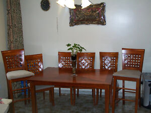 Dining Table with 4 chairs, + 2 matching high/counter chairs