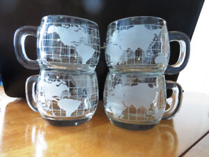 4 Nescafe Nestle Clear/Frosted/Etched Globe Coffee Cups