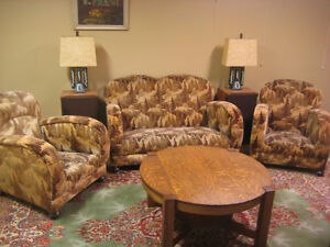 Art Deco Loveseat & 2 Club Chairs Alpine mohair upholstery