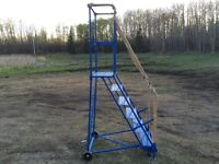 6 FOOT ROLLING LADDER WITH HAND RAILS
