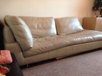 Large leather sofa / chaise long
