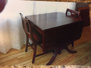 Duncan Phyfe Drop Leaf Table and Chairs