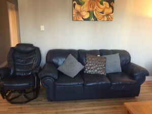 Leather couch and rocking chair - good condition