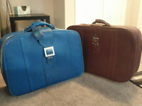 Two Vintage Leather Luggage / Suitcases