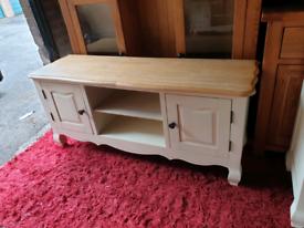 Oak Furniture Land Bella Brushed Solid Oak and Painted TV Unit
