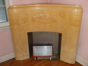 Vintage corner fireplace mantle