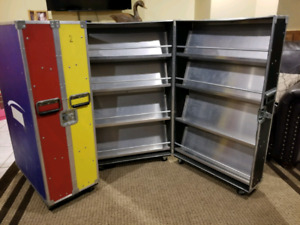 2 Large Travel Road Equipment Cases w/ Roller Wheels
