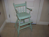 Painted Solid Wood High Chair