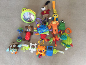 Lot of teething hanging baby toys for mobile, crib, stroller