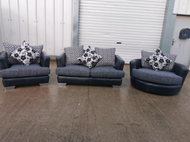 Dfs grey fabric 3 piece suite, couches 🚚
