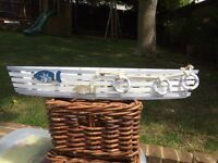 Nautical Theme Wooden Boat Shape 5 Candle Holder Blue and White