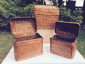 A Trio of Wicker Boxes for sale
