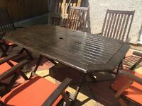Garden teak hard wood table and 6 chairs
