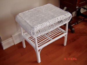 Beautiful Antique White Wicker Table with Shelf
