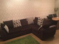 Brown and Cream Corner Sofa (DFS)