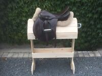 Wooden saddle stand with bridle hook. Equestrian / Horse