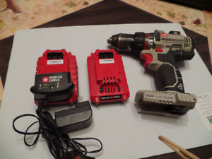 TWO 20 V. PORTER CABLE BATTERIES, CHARGER AND DRILL