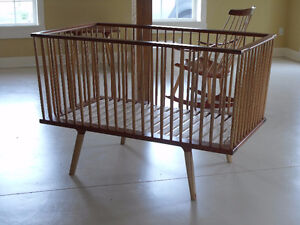 Danish modern style crib with organic cotton mattress