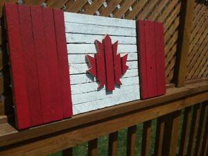 Large Wood Canadian Flag
