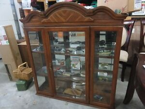 VINTAGE MINT  HUTCH WITH CLASSY SHELVES AND LIGHT