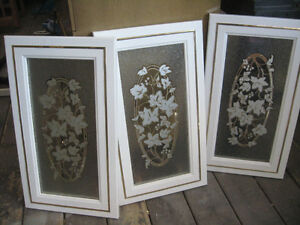 3 decorated glass caninet doors