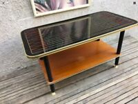 Vintage Mid Century Patterned Glass Top Wooden Coffee Table & Magazine Rack