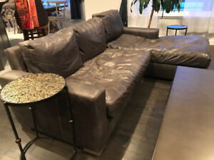 Restoration Hardware Maxwell Italian Leather Couch With Chaise