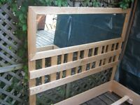 Solid Oak Queen Headboard with Mirror and Solid Oak Frame