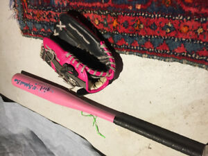 Youth Baseball glove and softball bat geared for girls