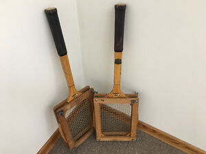Antique Wooden Tennis Rackets in Press $40.00 for set of two