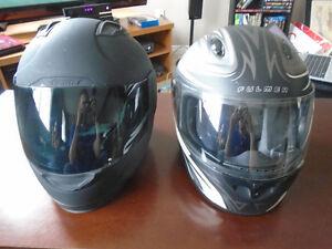 Medium Icon Alliance Helmet and Small Fulmer Orbit Helmet