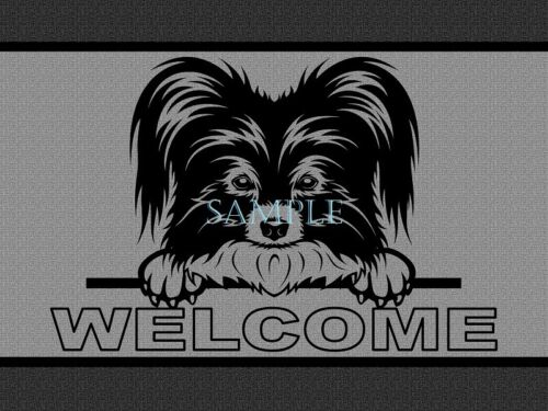 Papillon Dog Breed Peeking Over Welcome Home Doormat Door Mat Floor Rug
